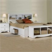 Prepac Monterey White Queen Bookcase Platform Bed 3 Piece Bedroom Set