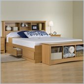 Prepac Sonoma Maple Queen Bookcase Platform Bed 3 Piece Bedroom Set