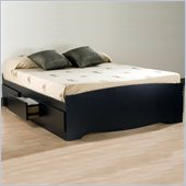 Prepac Sonoma Black Queen Bed with Drawers 3 Piece Bedroom Set