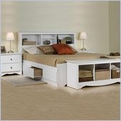 Prepac Monterey White Double/Full Bookcase Bed 3 Piece Bedroom Set