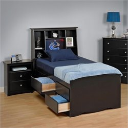 Prepac Sonoma Black Queen Bookcase Platform Bed 3 Piece Bedroom Set