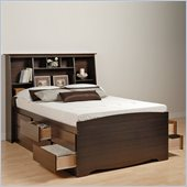 Prepac Manhattan Queen Bookcase Bed 3 Piece Bedroom Set in Espresso
