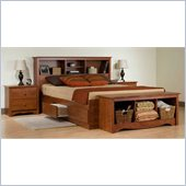 Prepac Monterey Cherry Double/Full Bookcase Bed 3 Piece Bedroom Set