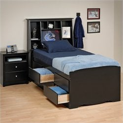 Prepac Sonoma Black Tall Twin Platform Storage Bed 2 Piece Bedroom Set
