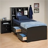 Prepac Sonoma Black Tall Twin Platform Storage Bed 3 Piece Bedroom Set