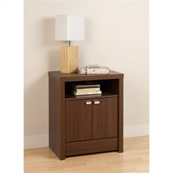 Prepac Series 9 Designer 2 Door Tall Nightstand in Medium Brown Walnut
