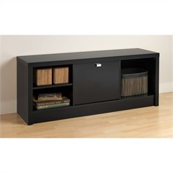Prepac Series 9 Designer Cubbie Bench with Door in Black