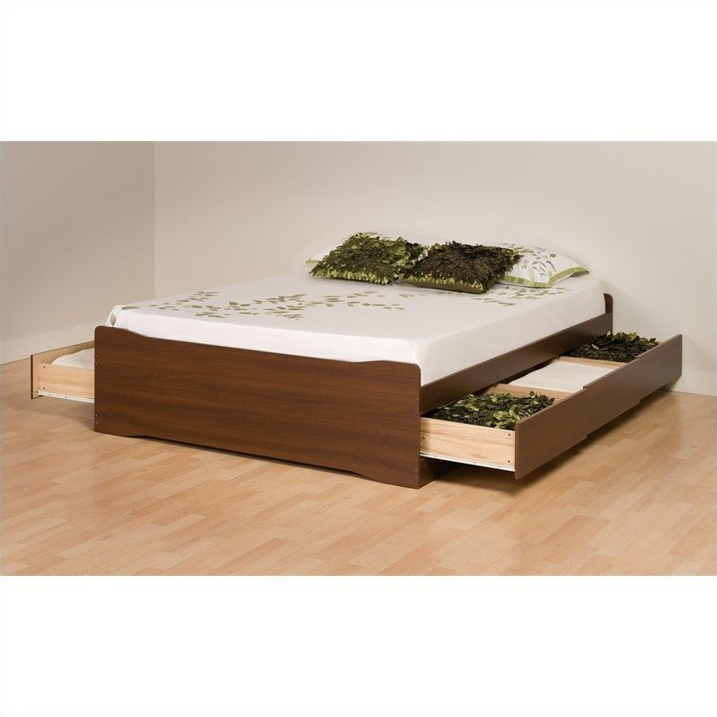 Coal Harbor Platform Storage Bed with 6 Drawers in Walnut