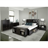 Prepac Series 9 Designer 6 Piece Bedroom Set in Black