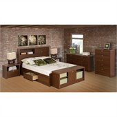 Prepac Series 9 Designer 4 Piece Bedroom Set in Medium Brown Walnut