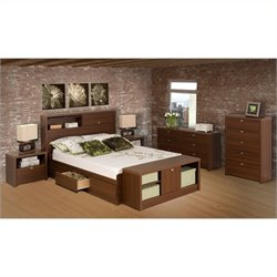 Prepac Series 9 Designer 5 Piece Bedroom Set in Medium Brown Walnut