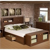 Prepac Series 9 Designer Bed and Bench in Medium Brown Walnut