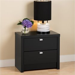 Prepac Series 9 Designer 2 Drawer Nightstand in Black