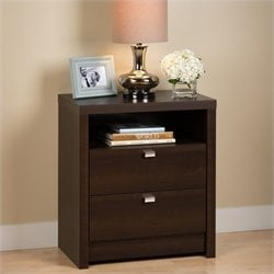 Prepac Series 9 Designer Tall 2 Drawer Nightstand in Espresso