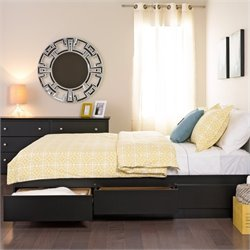 Prepac Coal Harbor Full Platform Storage Bed with Headboard in Black