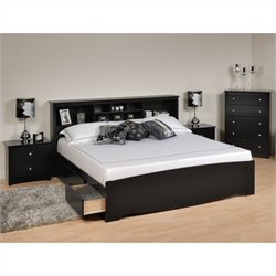 Prepac Sonoma 4-Piece King Bedroom Set in Black