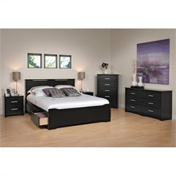 Prepac Coal Harbor 5-Piece Queen Bedroom Set in Black