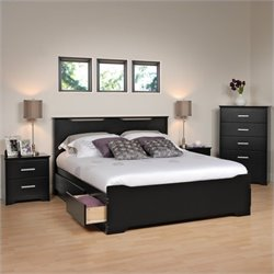 Prepac Coal Harbor 4 Piece Queen Bedroom Set in Black
