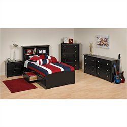 Prepac Sonoma 4-Piece Twin Youth Bedroom Set in Black