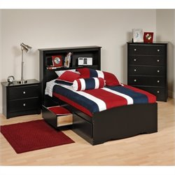 Prepac Sonoma 3-Piece Twin Youth Bedroom Set in Black