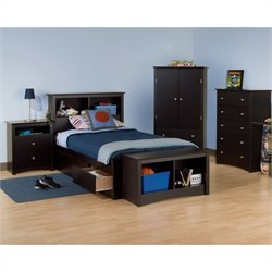 Prepac Sonoma 5-Piece Twin Youth Bedroom Set in Black