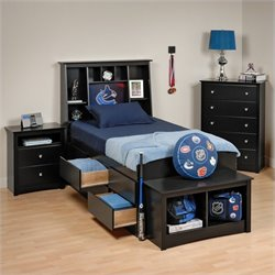 Prepac Sonoma 4-Piece Twin Youth Tall Bedroom Set with Bench in Black