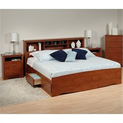 Prepac Monterey 3-Piece King Bedroom Set in Cherry