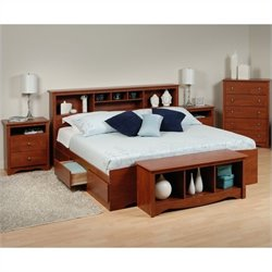 Prepac Monterey 5-Piece King Bedroom Set with Storage Bench in Cherry