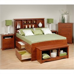 Prepac Monterey 5-Piece Tall Queen Bedroom Set with Bench in Cherry