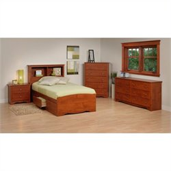 Prepac Monterey 4 Piece Twin Youth Bedroom Set in Cherry