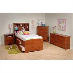 Prepac Monterey 4-Piece Tall Twin Youth Bedroom Set in Cherry