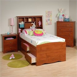 Prepac Monterey 3-Piece Tall Twin Youth Bedroom Set in Cherry