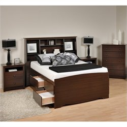 Prepac Fremont 4-Piece Tall Full  Double Bedroom Set in Espresso