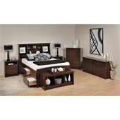 Prepac Fremont 6-Piece Tall Full  Double Bedroom Set in Espresso