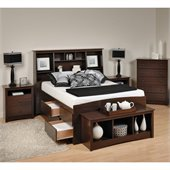 Prepac Fremont 5-Piece Tall Full Bedroom Set with Bench in Espresso