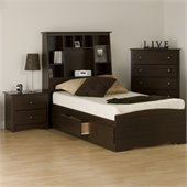 Prepac Fremont 3-Piece Tall Twin Bedroom Set in Espresso