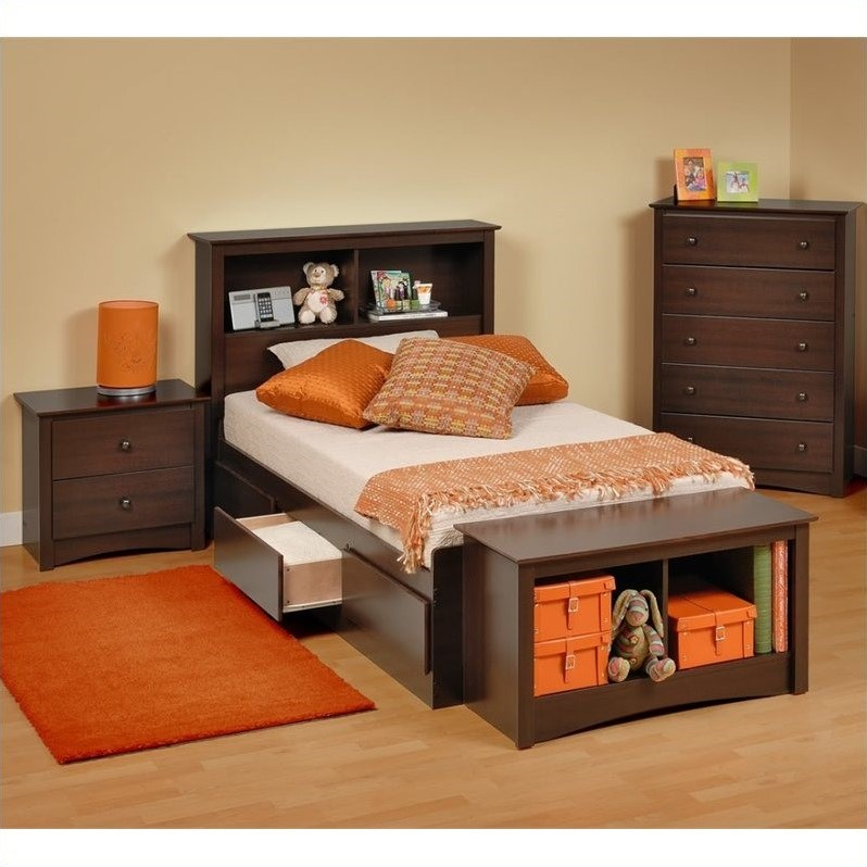 Prepac Fremont 4-Piece Twin Youth Bedroom Set in Espresso