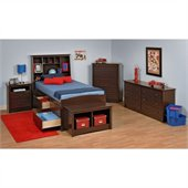Prepac Fremont 5-Piece Tall Twin Youth Bedroom Set in Espresso