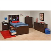 Prepac Fremont 4-Piece Tall Twin Youth Bedroom Set in Espresso