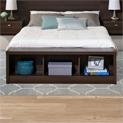Prepac Series 9 Designer Storage Bench in Espresso