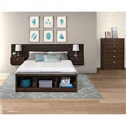 Prepac Series 9 Designer 3-Piece Bedroom Set with Chest in Espresso