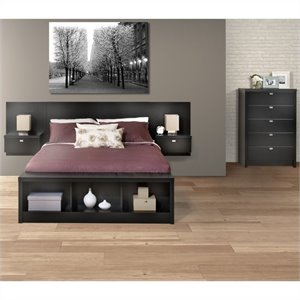 Prepac Series 9 Designer 3-Piece Bedroom Set with Chest in Black