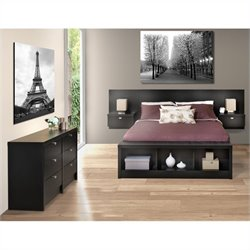 Prepac Series 9 Designer 3-Piece Bedroom Set with Dresser in Black