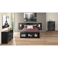 Prepac Series 9 Designer 4-Piece Bedroom Set in Black