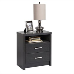 Prepac District Tall 2-Drawer Nightstand in Black Laminate