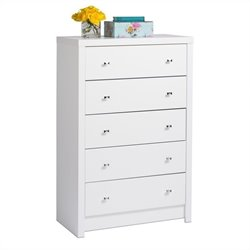 Prepac Calla 5-Drawer Chest in White Laminate
