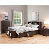 Prepac Fremont Queen 5 Piece Bedroom Set in Espresso