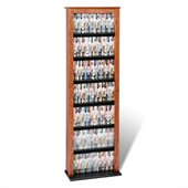 Prepac Slim Barrister CD DVD Media Storage Tower in Cherry and Black