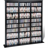 Prepac Triple Width Barrister CD DVD Media Storage Tower in Black