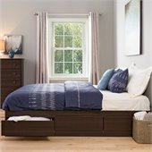 Prepac Manhattan Platform Storage Bed in Espresso Finish with Storage Drawers